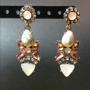 NWOT Pink and Crystal Stone Drop Earring